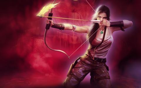 火,古墓丽影,艺术,弓,箭头,女孩,劳拉·克劳馥,武器
