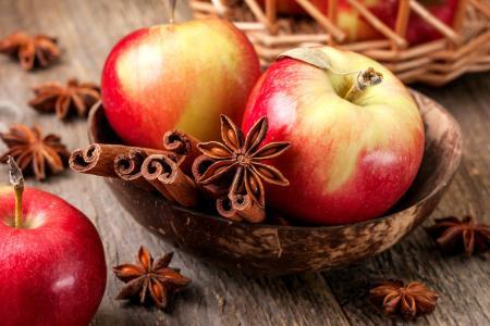 苹果,肉桂,特写镜头