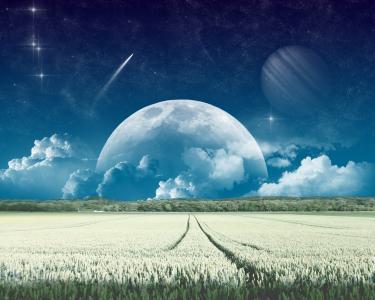 另一个星球,林间空地,星星,彗星,月亮