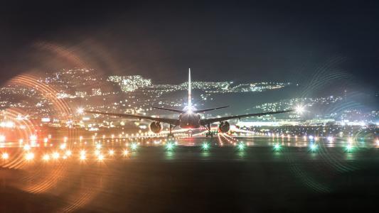飞机,城市,晚上,机场