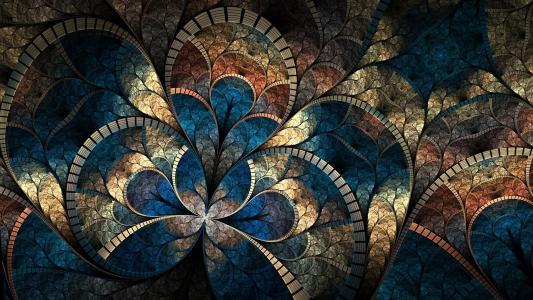 分形图案,弯曲,抽象,亮度,马赛克