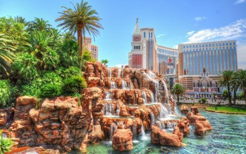 拉斯维加斯,城市,美国,瀑布,酒店,赌场,棕榈树,游客