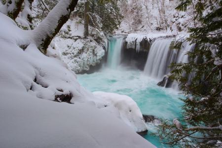 自然,冬天,瀑布,美丽