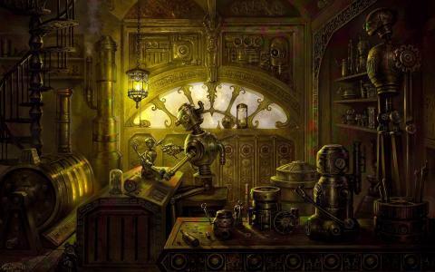 备件,机器人,蒸汽朋克,桌子,灯,车间,炉子