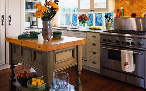 表,陶器,鲜花,厨房,炉子,室内,风格