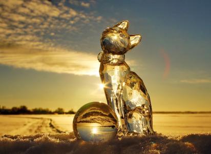 кошка, лед, шар, зима, снег, фото, креатив, небо, свет, солнца, с новым 2015 годом