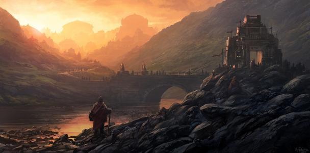 城堡,河,城市,人,桥,景观,艺术,安达卢斯罗马