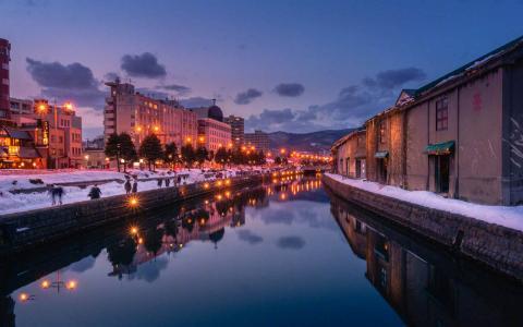 小樽运河的寂静夜晚