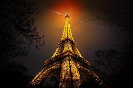 艾菲尔铁塔,法国,巴黎,晚上,城市,美丽