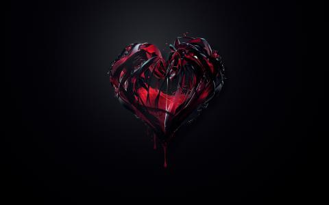 油漆,极简主义,心脏,红色,黑色,背景