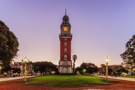 阿根廷,城市,时钟,广场,建筑,晚上,灯,灯,灯,美女