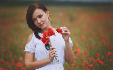 安吉丽娜·佩特洛娃,安吉丽娜·佩特洛娃,模特,大自然,罂粟,美丽