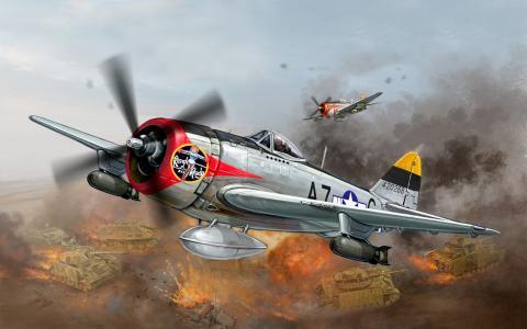 共和国,p-47,艺术,美国,霹雳,二战,战斗机,飞机