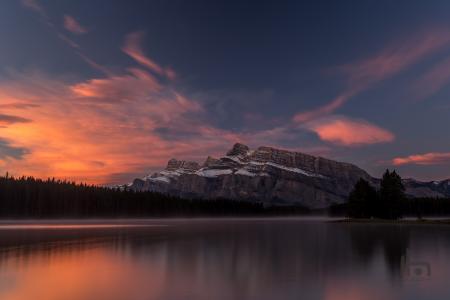 两个杰克湖,班夫国家公园自然,湖,日出