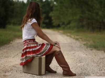 路,女孩,手提箱,坐,等待,希望