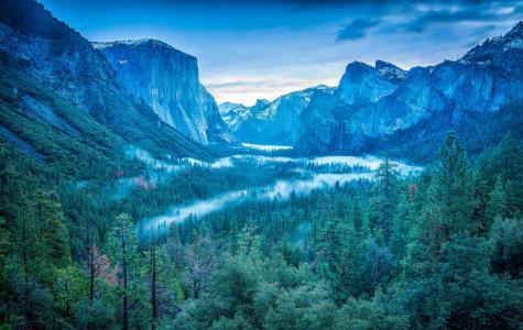 优胜美地国家公园,内华达山脉,美国,山脉,天空,树木,森林,雾,瀑布,山谷