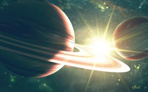 星球,明亮,空间,星星,明星,戒指,qauz,艺术