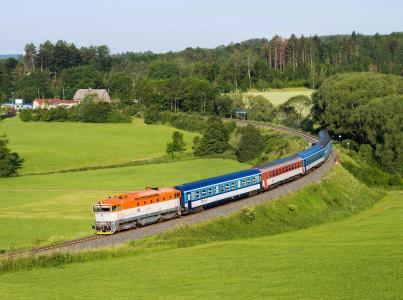 德意志,丘陵,草地,树木,火车
