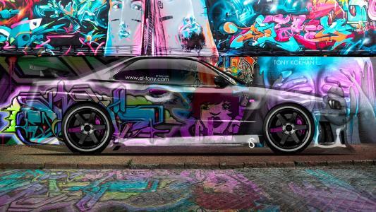 托尼·科汉,日产,天际线,GTR,R34,水晶,涂鸦,埃尔托车,Photoshop,Multicolors,JDM,侧面,风格,Photoshop,托尼柯汉,设计,日产,天际线,侧