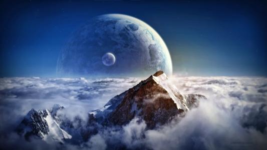 山,云,星球,卫星的山峰
