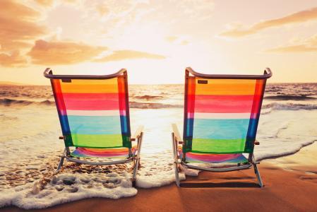 海,海滩,云,日落,沙,自然,性质,天空