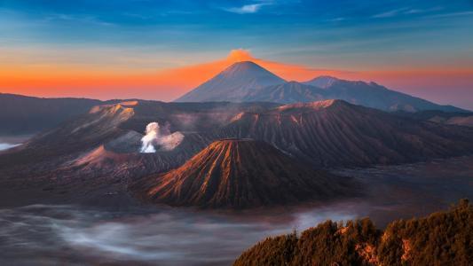 火山,喷发,天空,山,景观,梦幻般的,火山,溴,烟,山,天空,Java,岛,火山,溴,岛,Java