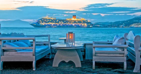 希腊,米科诺斯岛,天空,海,云,山,晚上,灯,班轮,船,扶手椅,表,休息