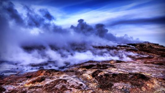 温泉,阴霾,高山