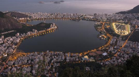 晚上,泻湖,城市,全景,巴西