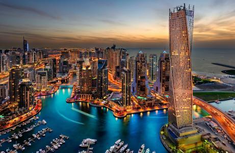 城市,迪拜,阿拉伯联合酋长国,城市,迪拜,阿联酋,度假村,晚上,日落