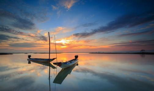海,日落,小船,越南