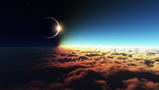 日蚀,空间,天空,星星