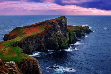 性质,灯塔,岩石,苏格兰,海,海洋,天空,云