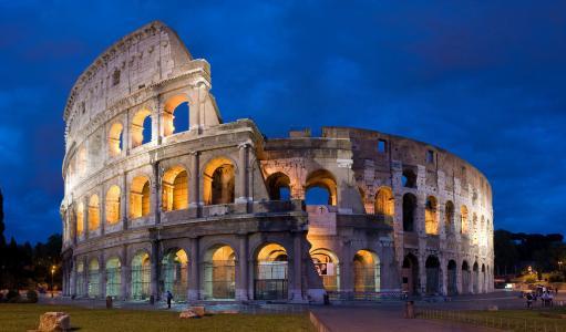 罗马斗兽场,罗马,意大利,体育馆,rom,晚上,天空