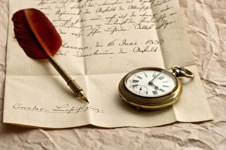 笔,笔,纸,墨水,时钟,信件