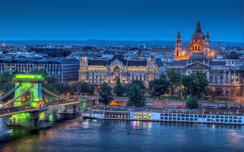 城市,夜,光,河,建筑