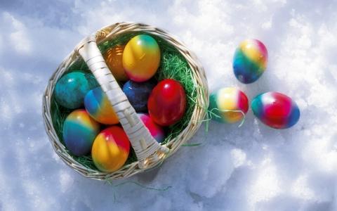 复活节彩蛋,雪,篮子