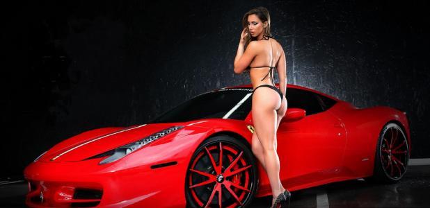 女孩,性感,身体,超级跑车,红色