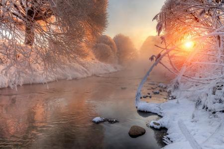 自然,河,冬天,雪,太阳,早晨,美丽