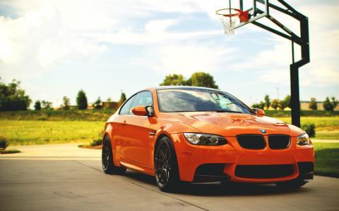 宝马,m3,超级跑车,橙色,篮球,游乐场