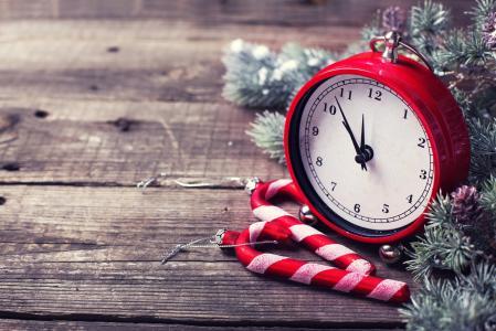 假日,新年,圣诞节,董事会,闹钟,时钟,树枝,树,冷杉,针,糖果
