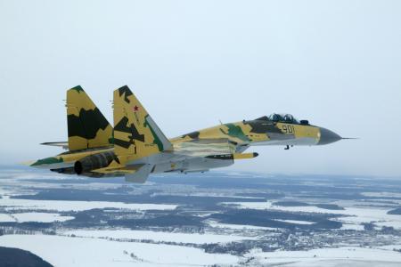 冬天,飞行,苏-35,战斗机,雪,美丽