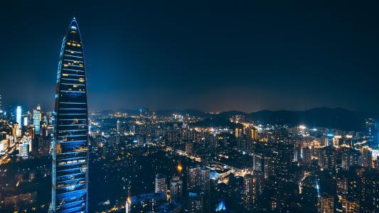 夜幕下的都市深圳