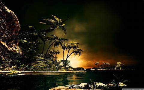 热带的夜晚,海洋,棕榈树,岛屿