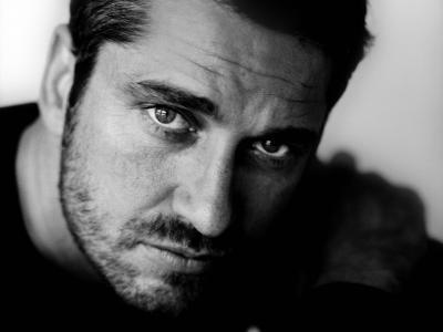 演员,贾拉德·巴特勒,杰拉德·巴特勒,肖像,脸,眼睛,看,刷毛,图片,黑白,单色