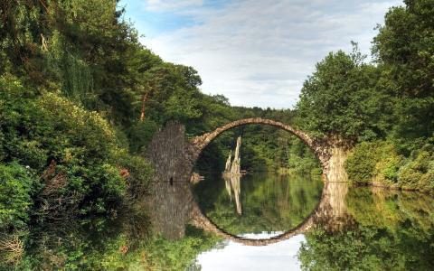 夏天,河,桥,森林,美丽,反思