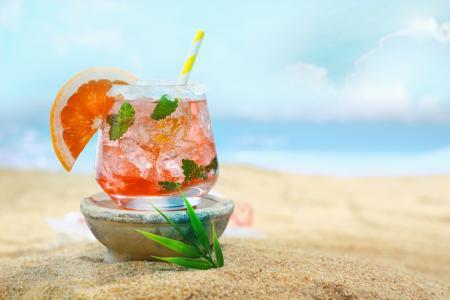 鸡尾酒,冰,葡萄柚,薄荷,沙滩,海滩,夏天,休息