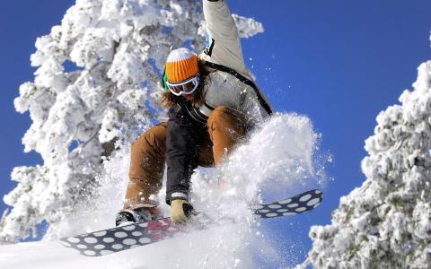 天空,雪,滑雪板,滑雪板,女孩