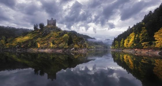 反思,树,湖,法国,云,雾