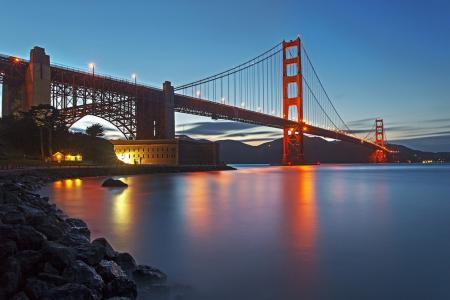 旧金山,桥,灯,照明,水,天空,美丽